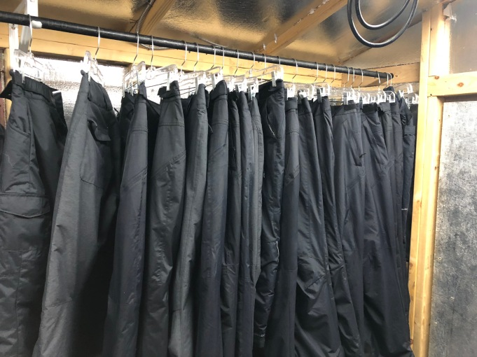 Pants in hanging to dry in the hot shed